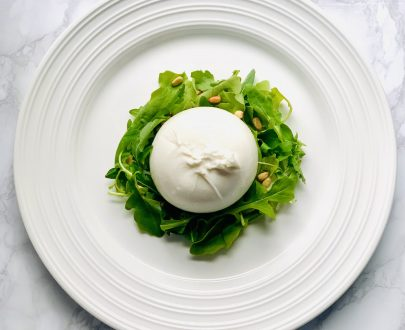 The Little Pasta Company Burrata, rocket and pine nut salad with balsamic vinaigrette